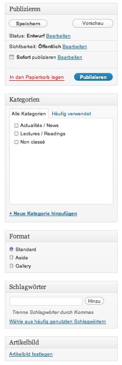 Abbildung 13: Funktionen für die Artikelverwaltung