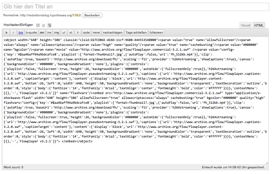 Abbildung 17: Code aus Internet Archive in der Bearbeitungsweise HTML