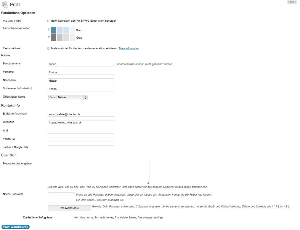 Abbildung 27: öffentliche Anzeige des Benutzernamens einstellen