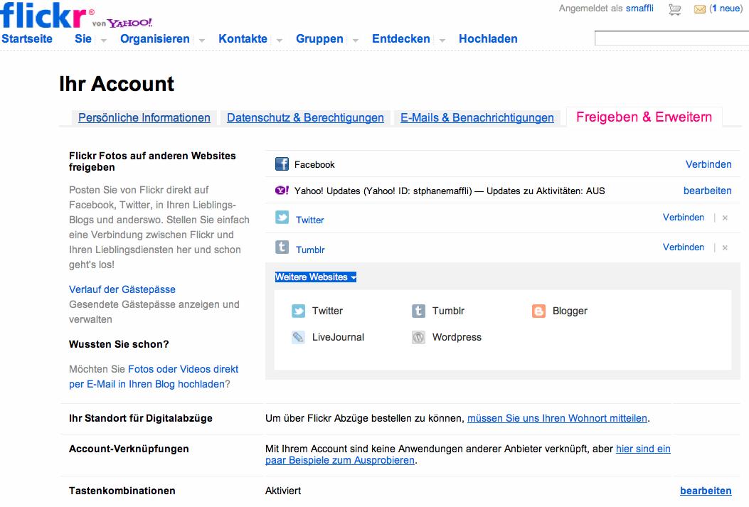 Abbildung 33: Ihr Account bei Flickr