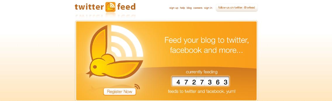 Abbildung 36: Twitterfeed, ein Programm, um mit RSS auf Twitter zu publizieren