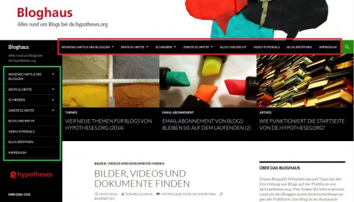 Bloghaus - Menüs